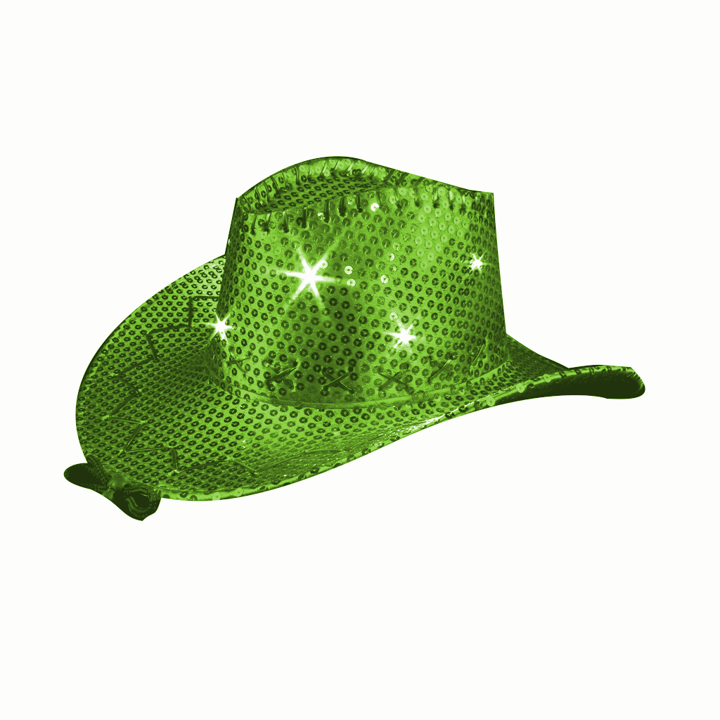 LED Sequin Cowboy Hat with Fancy Stitching Jade All Products