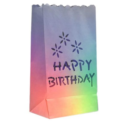 Luminary Bags with Happy Birthday Design Rainbow Multicolor