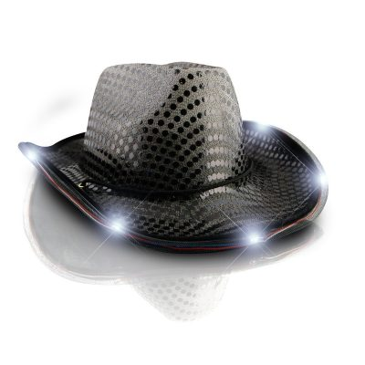 LED Flashing Cowboy Hat with Black Sequins Light Up LED Cowboy Hats