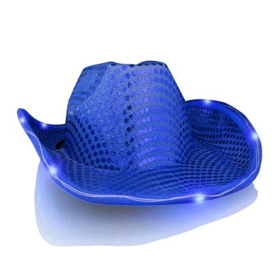 Light Up LED Flashing Cowboy Hat with Blue Sequins 4th of July