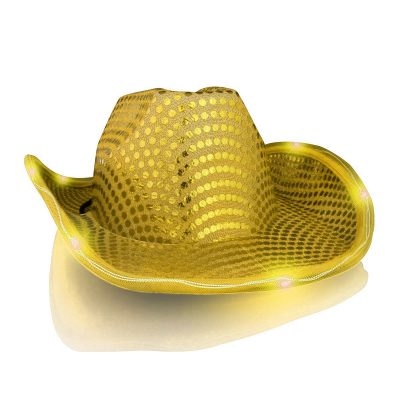 LED Flashing Cowboy Hat with Gold Sequins All Products