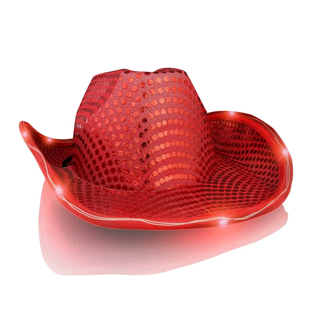 1dc83ef318c ... light up led flashing cowboy hat with red sequins