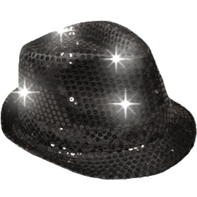 LED Flashing Fedora Hat with Black Sequins All Products