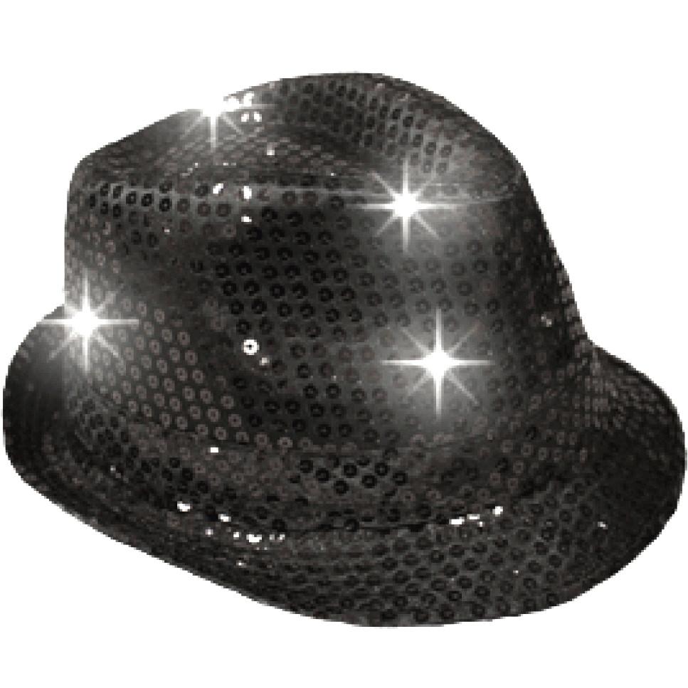 6512166af17ed LED Flashing Fedora Hat with Black Sequins • Magic Matt s Brilliant Blinkys