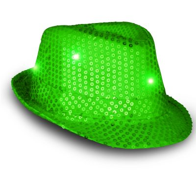 LED Flashing Fedora Hat with Green Sequins All Products