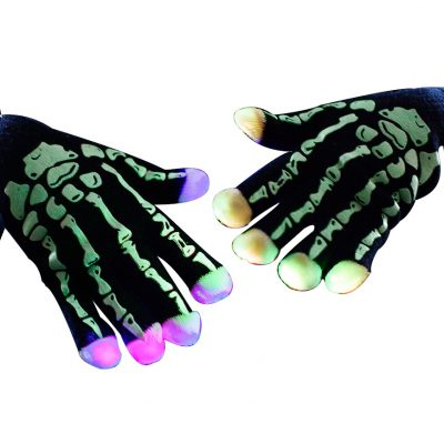 Glowing Skeleton Hands LED Gloves Rainbow Multicolor
