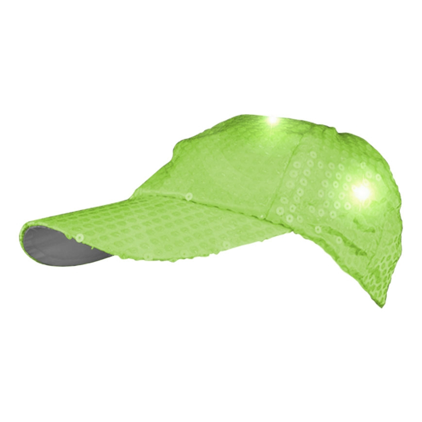 LED Sequined Baseball Hat Lime Green All Products