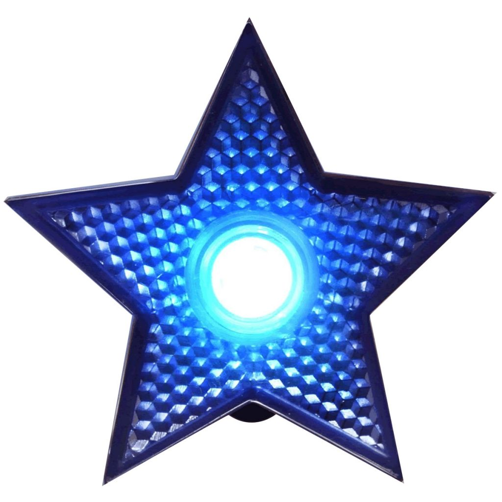 LED Blinking Blue Star Reflector Clip Running Body Light 4th of July