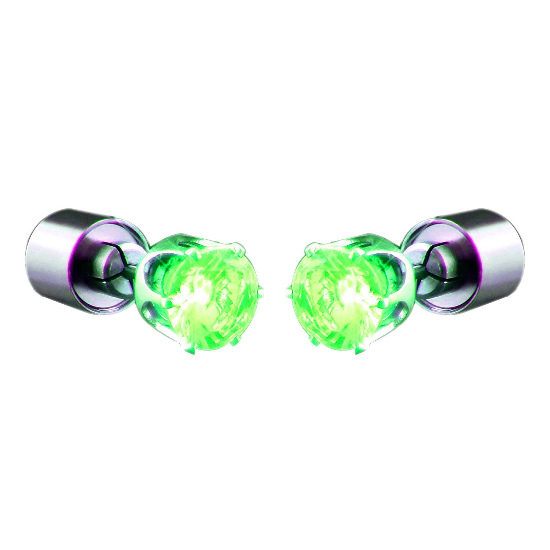 LED Faux Diamond Pierced Earrings Green All Products