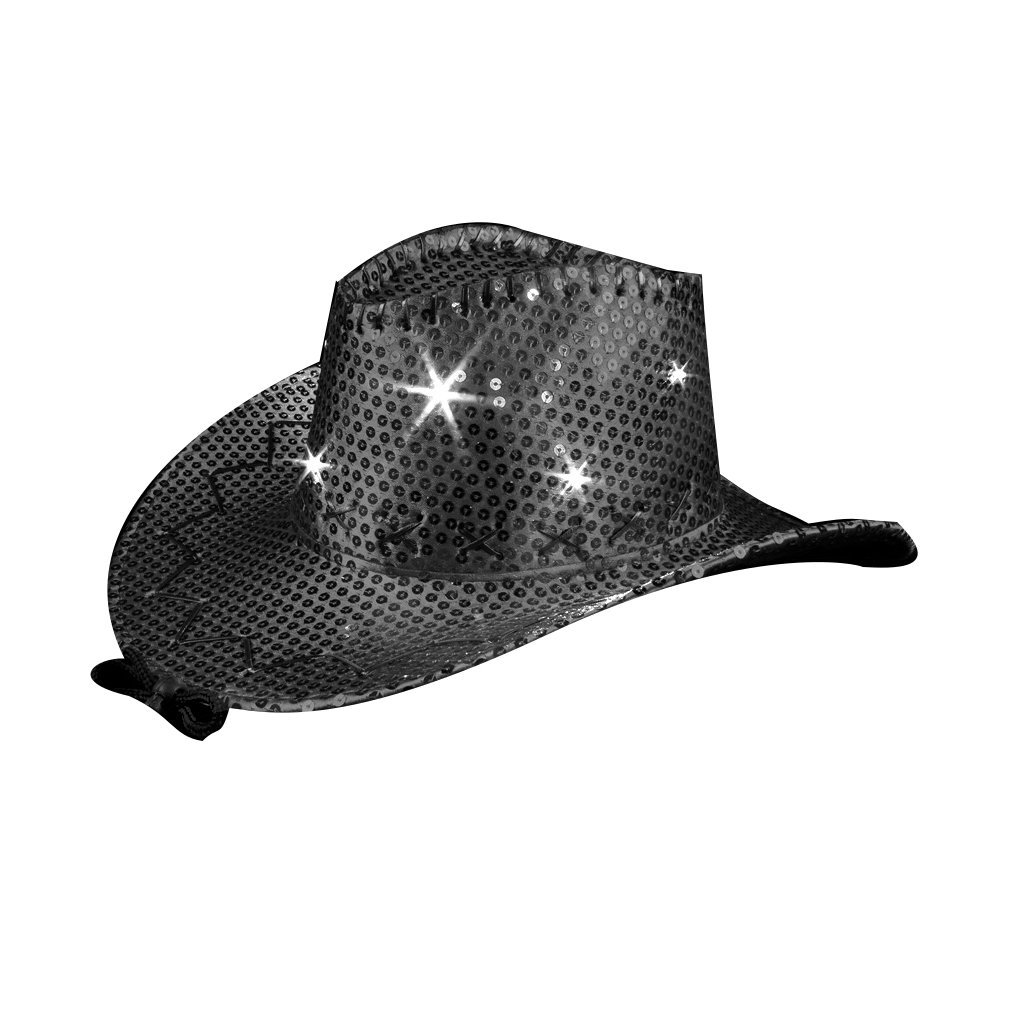LED Sequin Cowboy Hat with Fancy Stitching Black All Products
