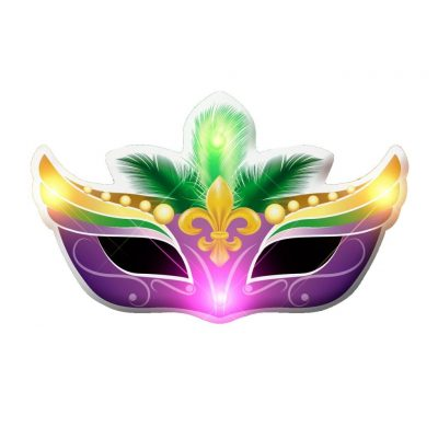 Mardi Gras Mask Flashing Body Light Lapel Pins Rainbow Multicolor