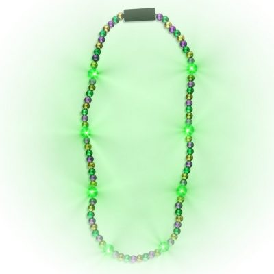 Flashing Mardi Gras Beaded Necklace Flashing Rainbow Multicolor