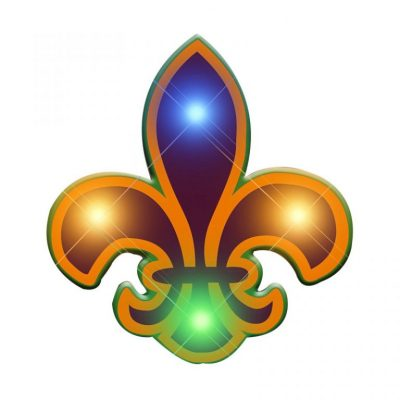 Fleur de Lis Flashing Body Light Lapel Pins Rainbow Multicolor
