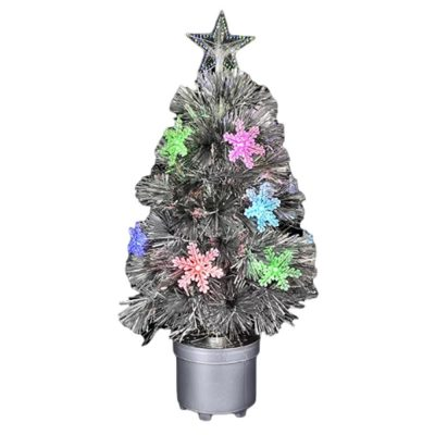 Silver Mini Christmas Tree with Color Changing Lights Light Up Christmas Decoration Light Up Christmas Decorations