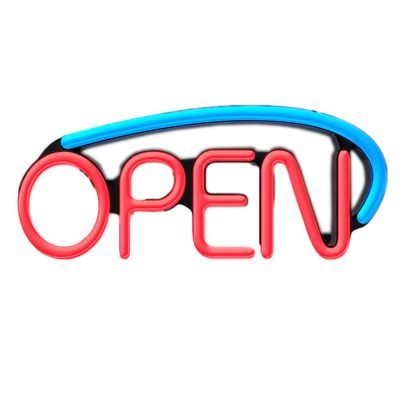 LED Open Sign with AC Adapter Rainbow Multicolor