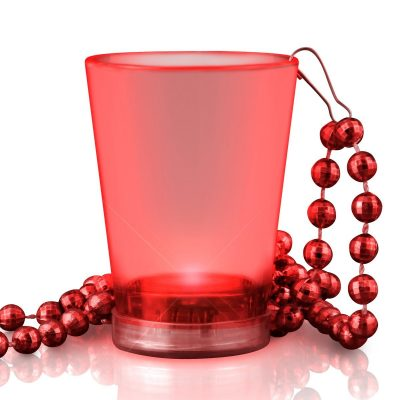Light Up Red Shot Glass on Red Beaded Necklaces Red