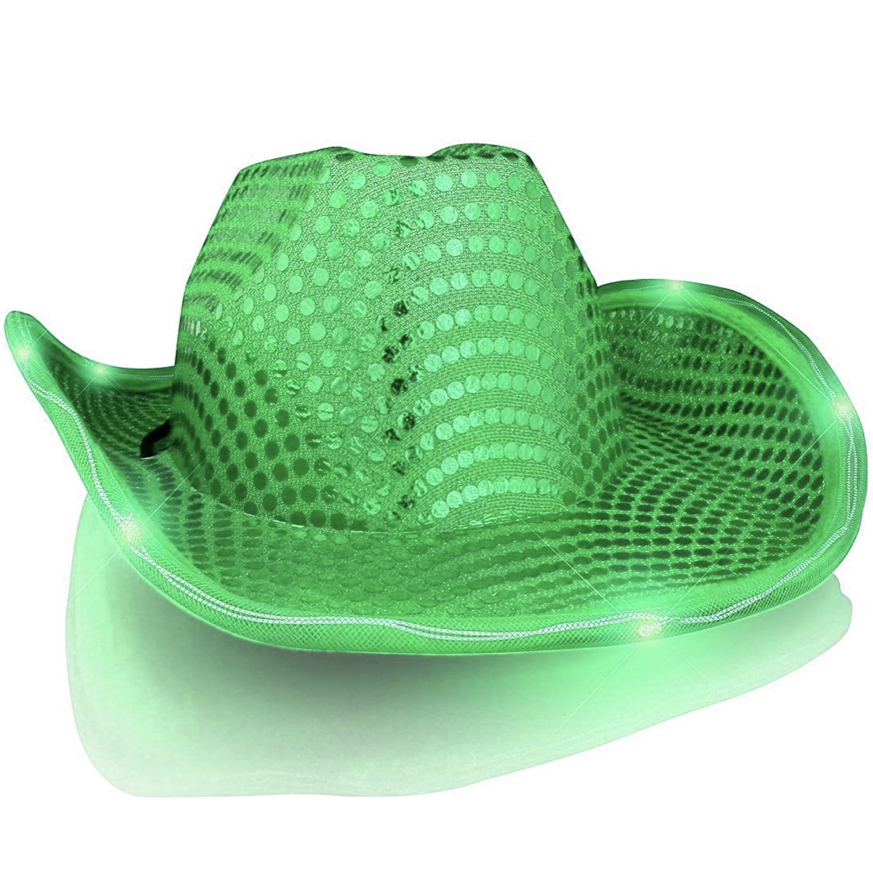 LED Flashing Cowboy Hat with Green Sequins All Products