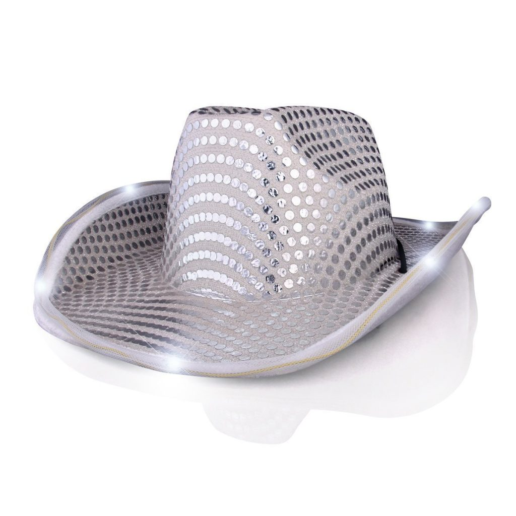 Light Up LED Flashing Cowboy Hat with White Sequins 4th of July