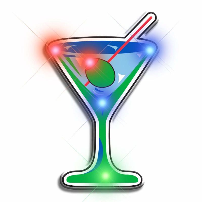 Martini Flashing Body Light Lapel Pins All Body Lights and Blinkees
