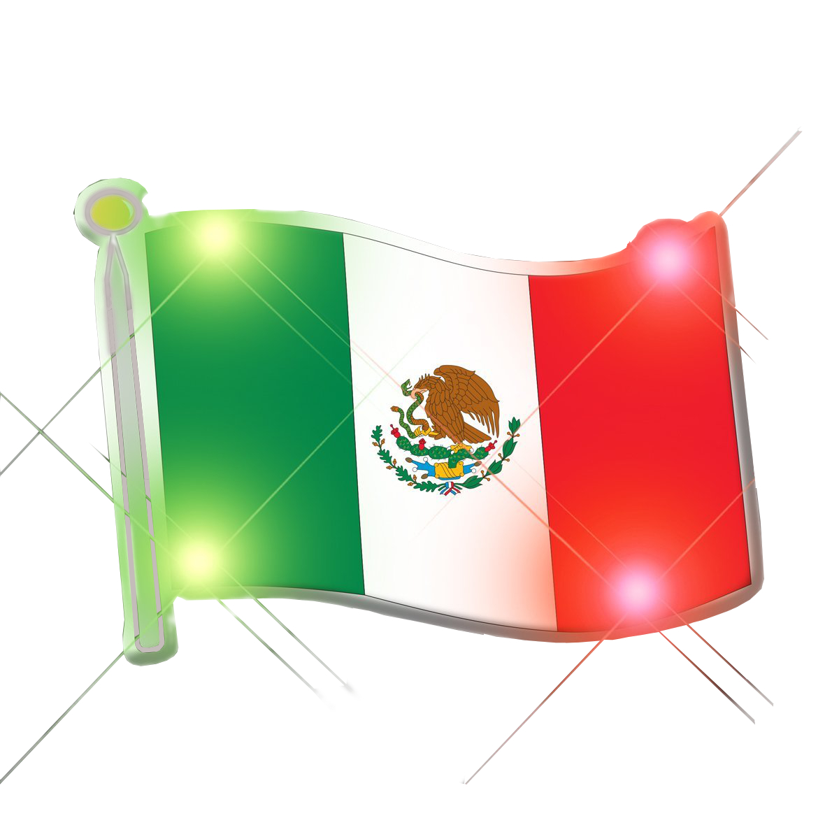 Mexican Flag Flashing Body Light Lapel Pins All Body Lights and Blinkees