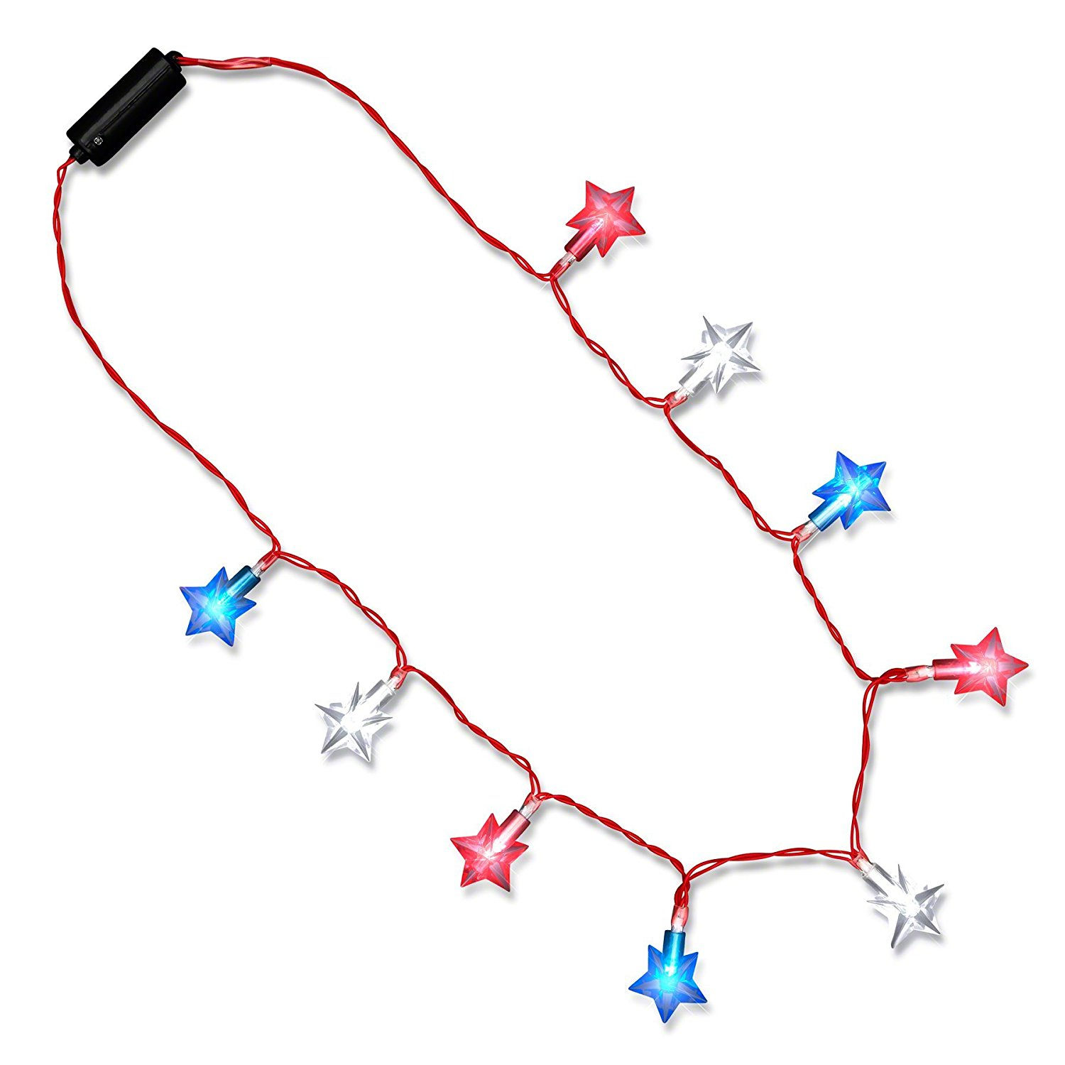 Patriotic Star String Lights Necklace 4th of July