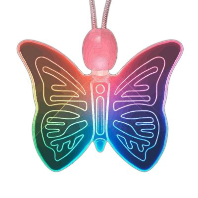 LED Acrylic Color Changing Butterfly Necklace Rainbow Multicolor