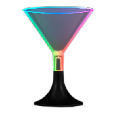 Mini LED Martini Glass with Black Base Rainbow Multicolor