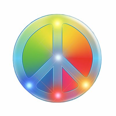 Rainbow Peace Sign Necklace Flashing Body Light Necklace All Products