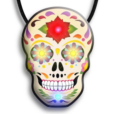 Day of the Dead Skull Flashing Body Light Necklace Rainbow Multicolor