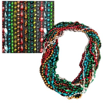 Assorted Style and Color Mardi Gras Bead Necklaces Pack of 12 All Products