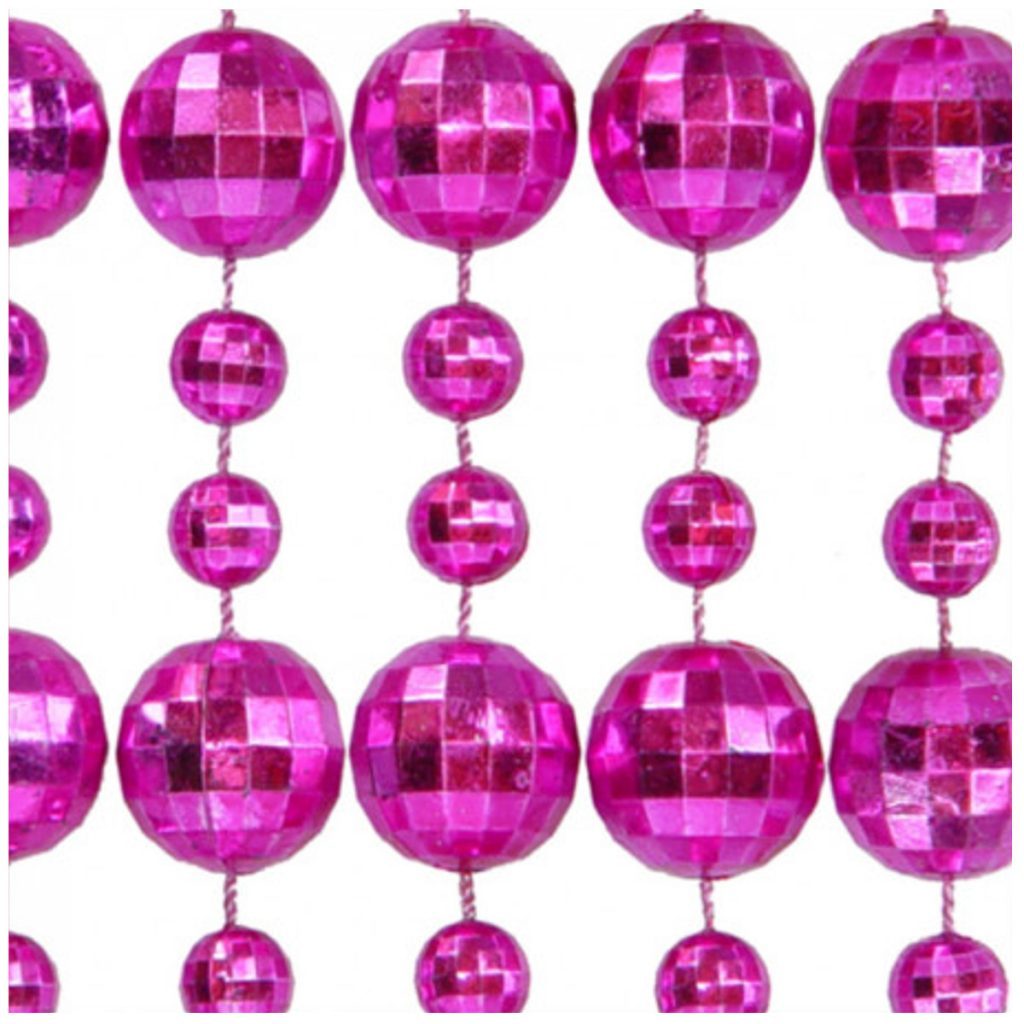 Round Disco Bead Necklace Pack of 12 Pink All Products