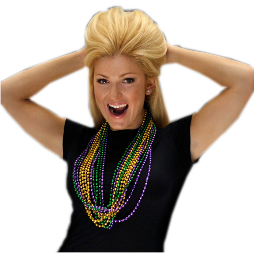 Purple Gold and Jade Disco Bead Mardi Gras Necklace Pack of 12 All Products
