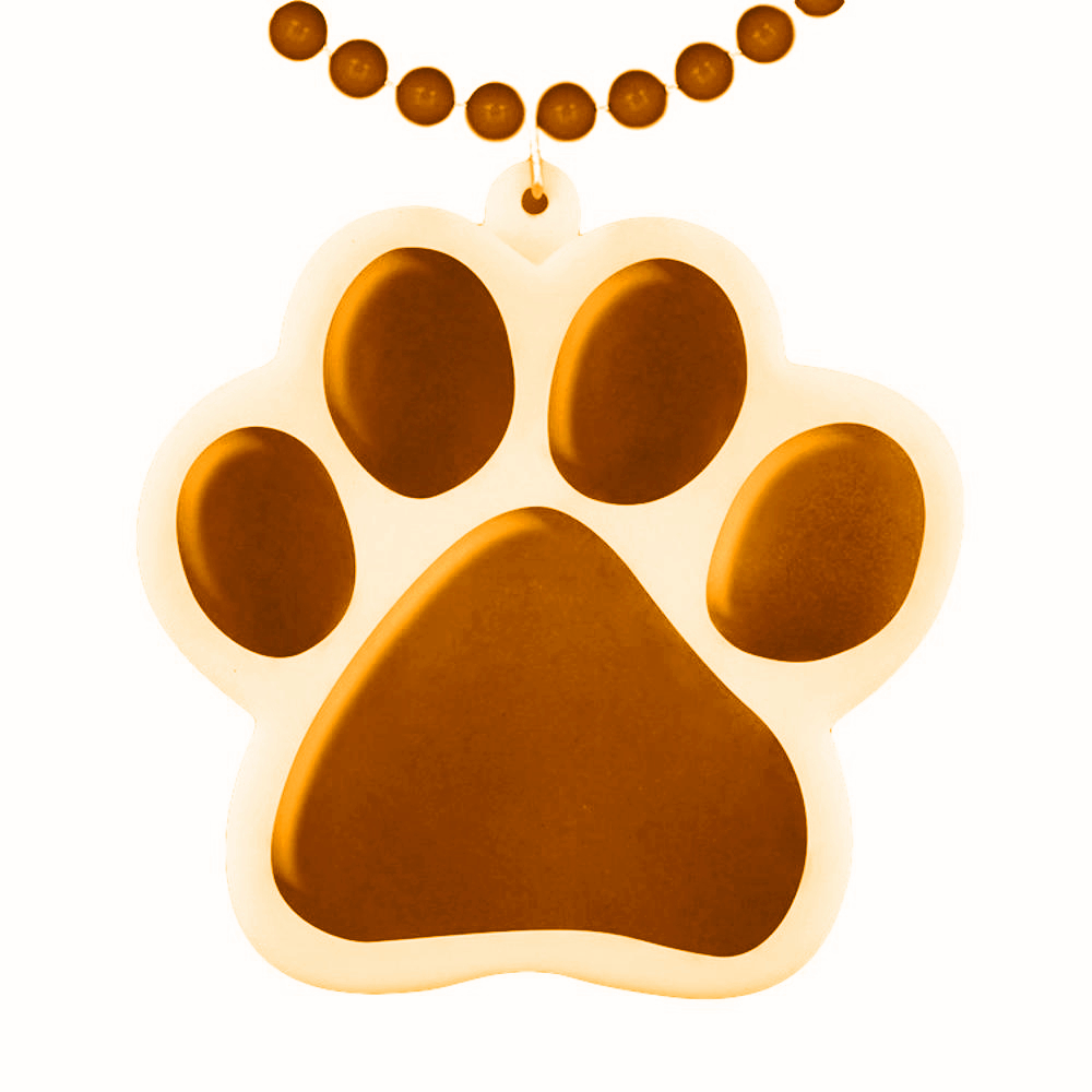 Light Up Orange Paw Print Charm Necklace All Products