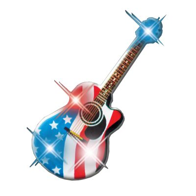 USA Guitar Flashing Body Light Lapel Pins 4th of July