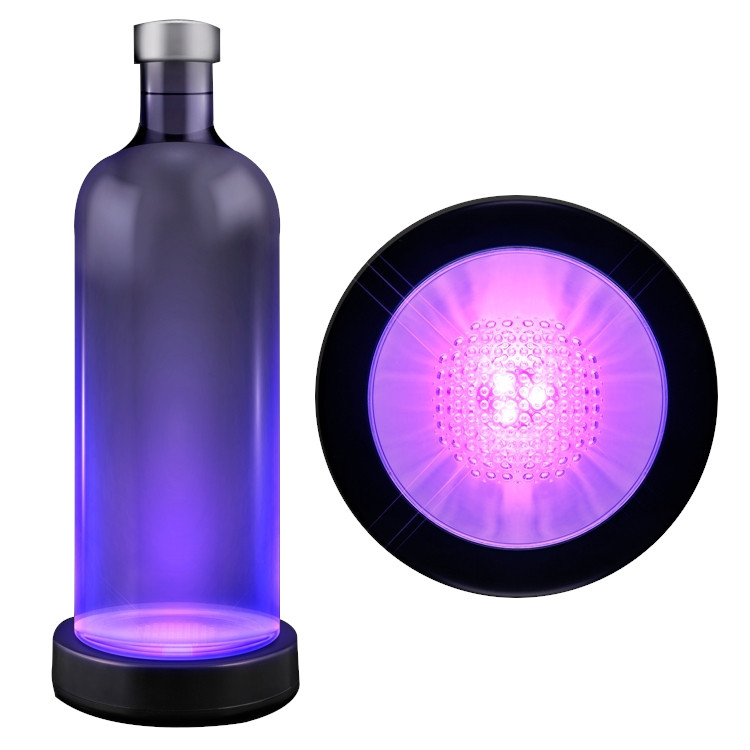 Purple LED Bottle Base Light Display Drink Coaster All Products