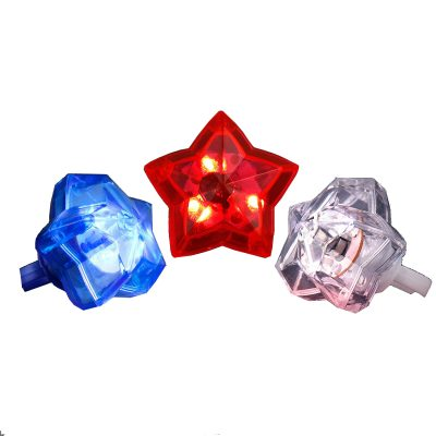 Huge Gem Star Ring Red White Blue Pack of 24 4th of July