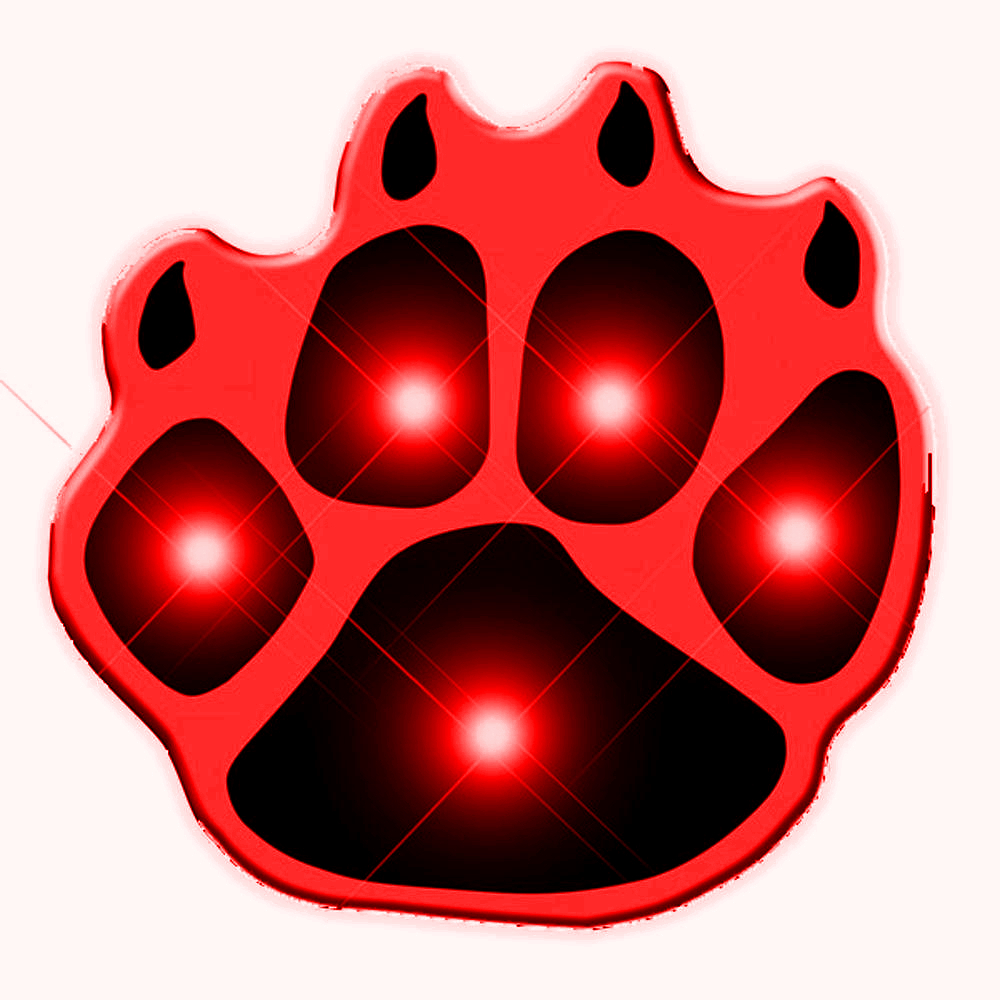 Red Pawprint Flashing Body Light Lapel Pins All Body Lights and Blinkees