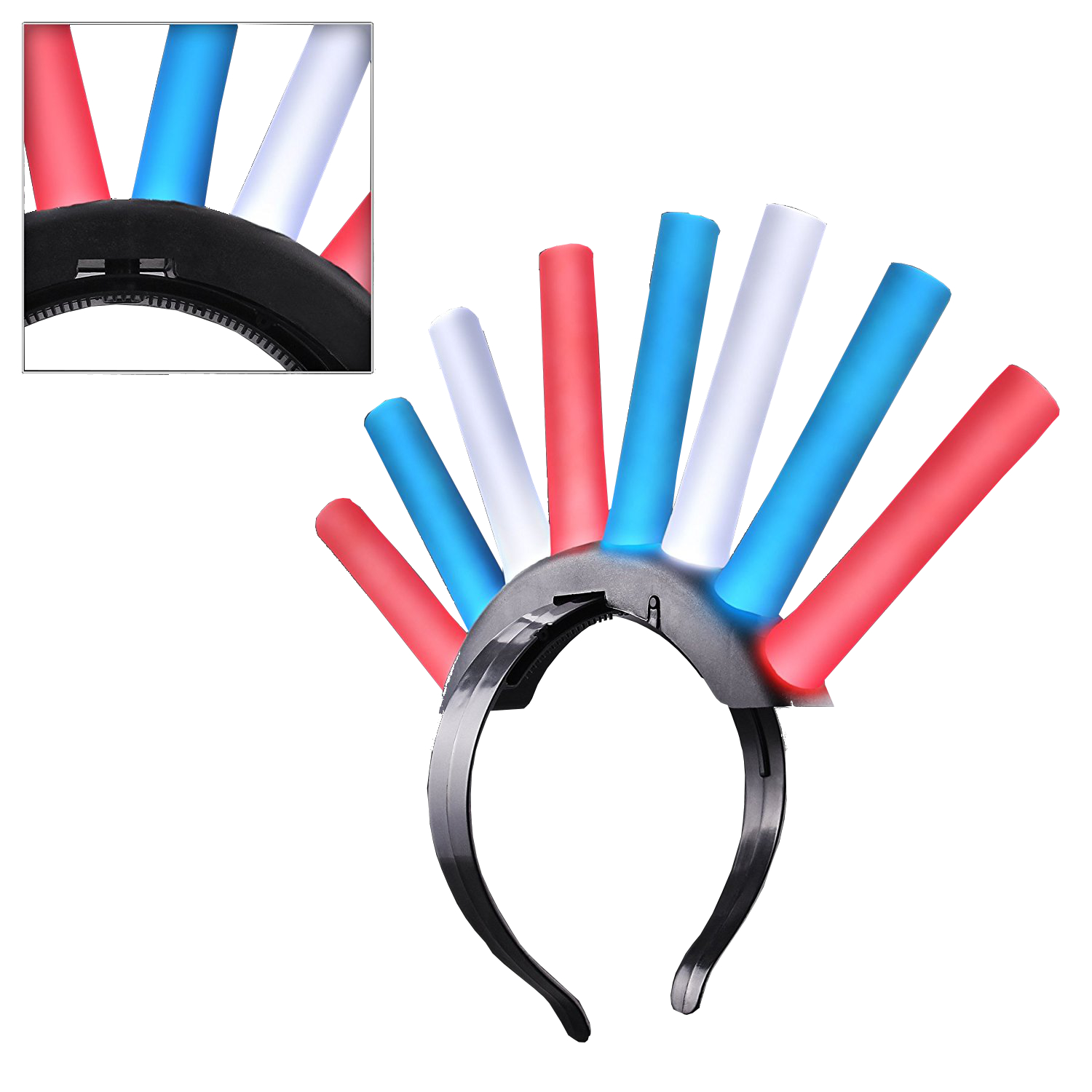LED Foam Stick Mohawk Red White Blue 4th of July