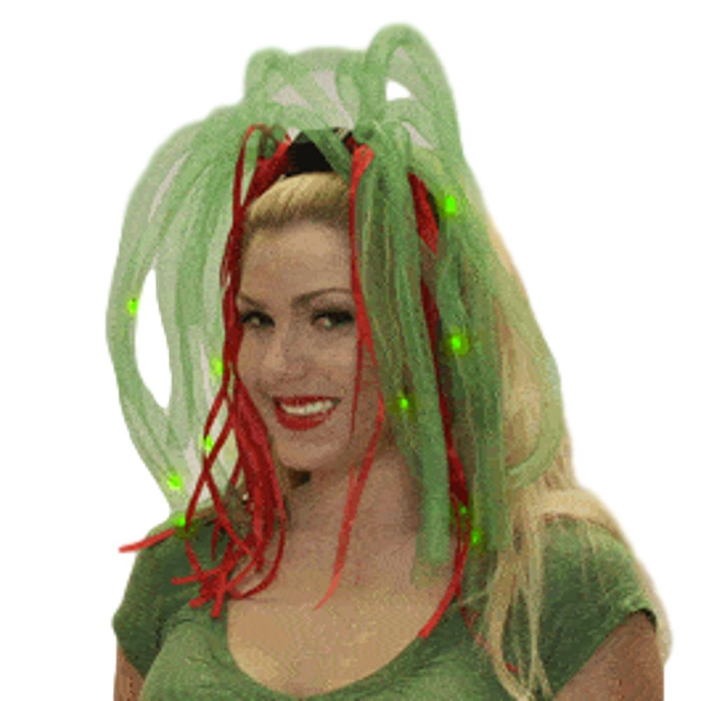 Red and Green LED Noodle Light Up Headband Flashing Dreads All Products