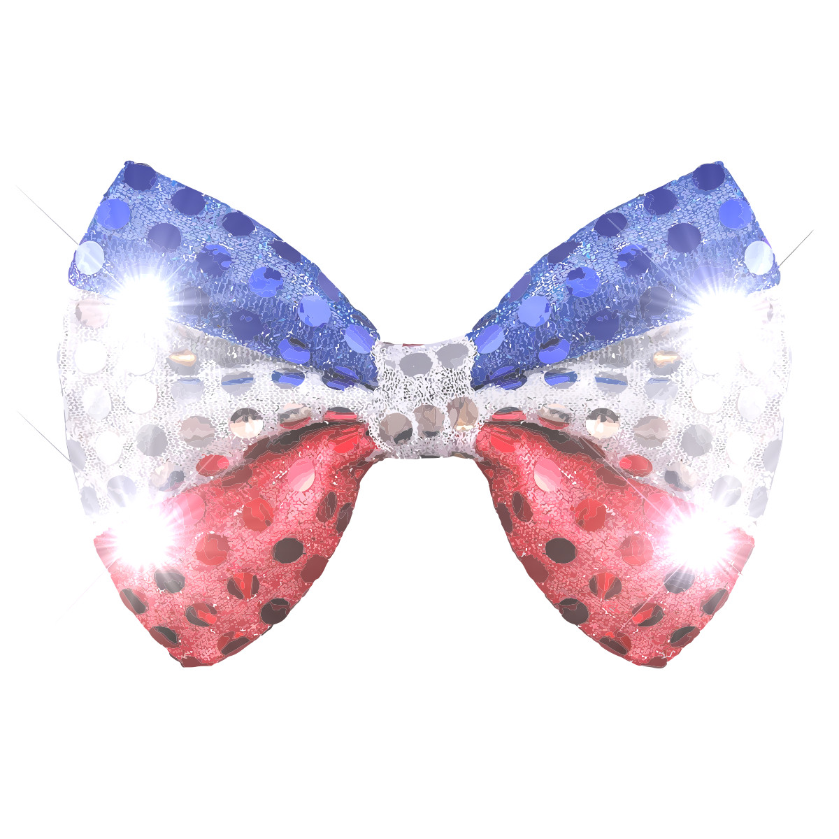 Red White Blue Sequin Bow Tie with White LEDs 4th of July