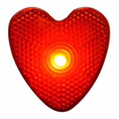 LED Blinking Red Heart Reflector Clip Running Body Light Red
