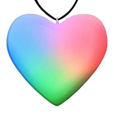 Sculpted Heart Necklace Rainbow Multicolor