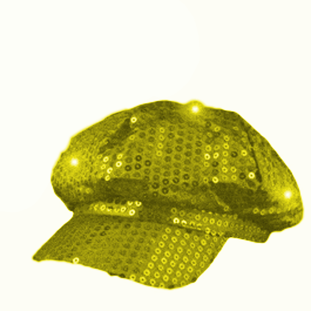 Sequin LED Newsboy Cap Gold All Products