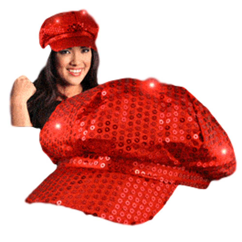 Sequin LED Newsboy Cap Red All Products