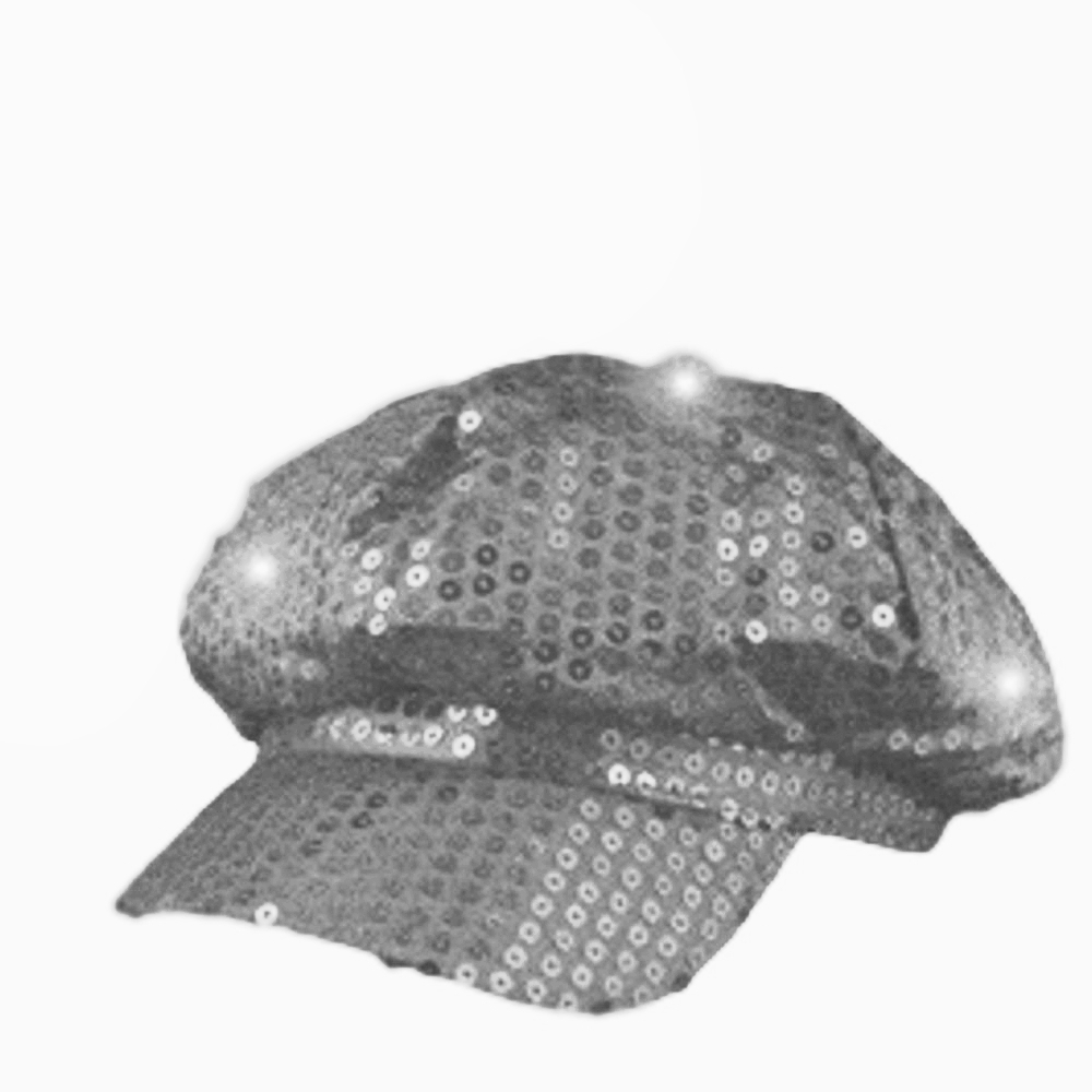 Sequin LED Newsboy Cap Silver All Products