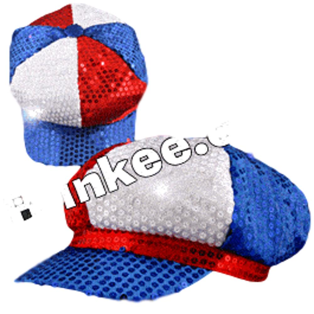Sequined LED Newsboy Cap Red White Blue 4th of July