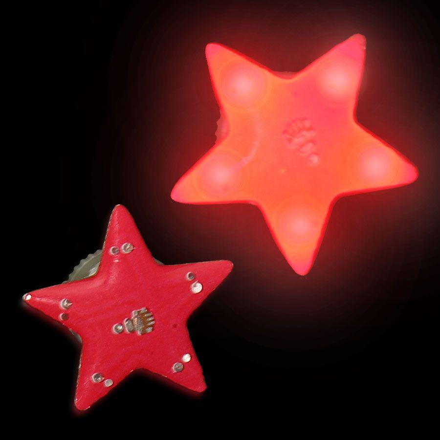Red Star Flashing Body Light Lapel Pins Magic Matt S