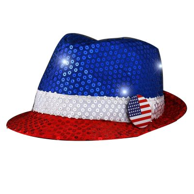 Light Up USA Flashing Fedora Hat with Red White and Blue Sequins 4th of July