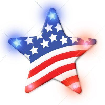 USA Star Flashing Body Light Lapel Pins 4th of July