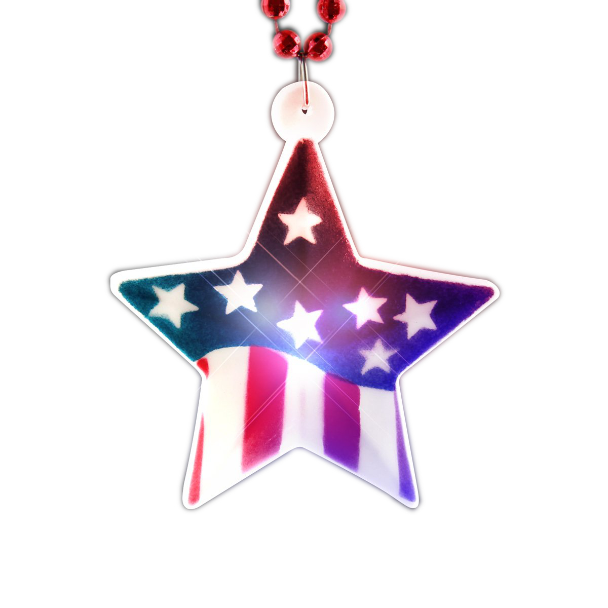 USA Star Flashing Charm Beaded Necklace 4th of July